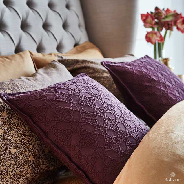 Zantine Deep Plum Cushion,ruby, stone wash effect _3183rt