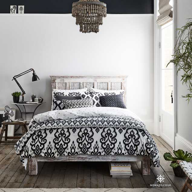 Barker & Stonehouse wood Bed with Panthera Ikat by Nomads