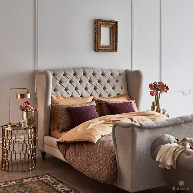Jacquard Bedding Zantine Bohzaar Gold and plum_3163rt
