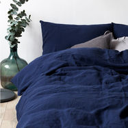 Linen Duvet Cover Navy & Pillowcase Set