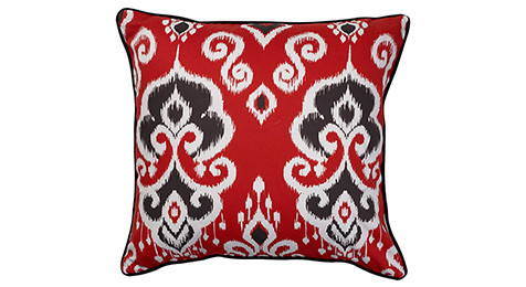 Nomads Altai Ikat Black white on Red base