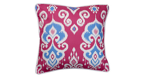 Nomads Altai Ikat Blue White on Cerise base