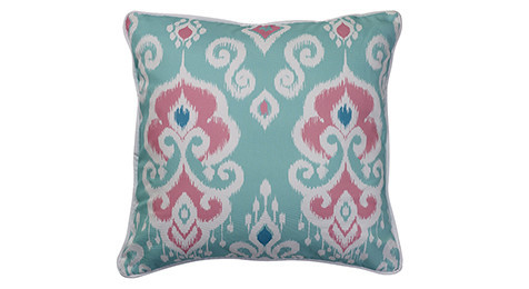 Nomads Altai Ikat Cerise White on Turquoise base