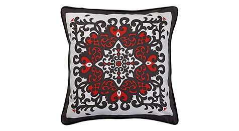 Nomads Altai Syrmako Red black on white cushion