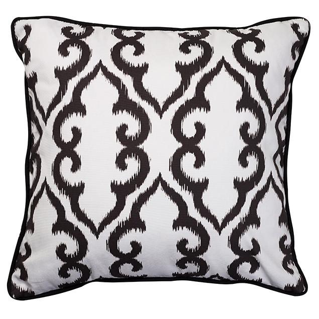 Altai Black Trellis Cushion 50cm square: Nomads Altai Trellis Black on white