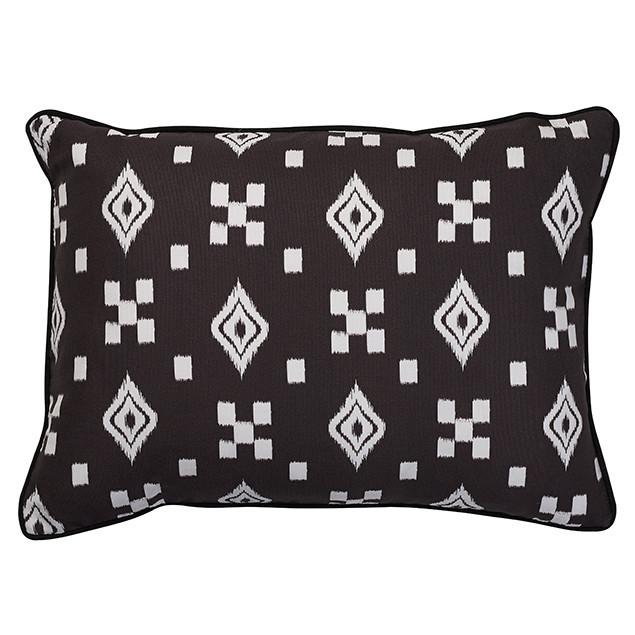 Altai Ikat Cushion Multi Tribal Motifs White on Black: Nomads Altai Multi Motif White on black