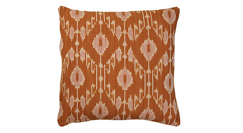 Ikat Goa jaffa orange cushion