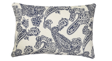 Linen Old Paisley Blue cushion