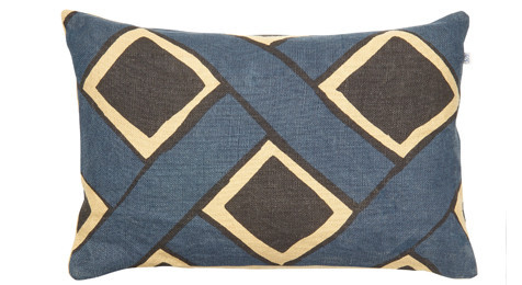Bali Linen Cushion Beige/Blue/Black