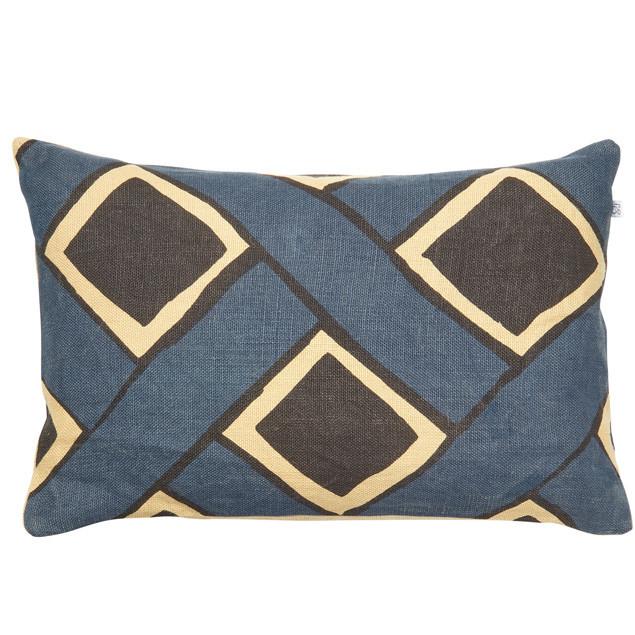 Bali Linen Cushion Beige/Blue/Black: Bali Linen Cushion Beige/Blue/Black