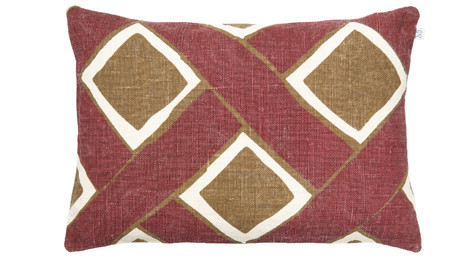 Bali Linen Cushion Ruby/Dark Oak