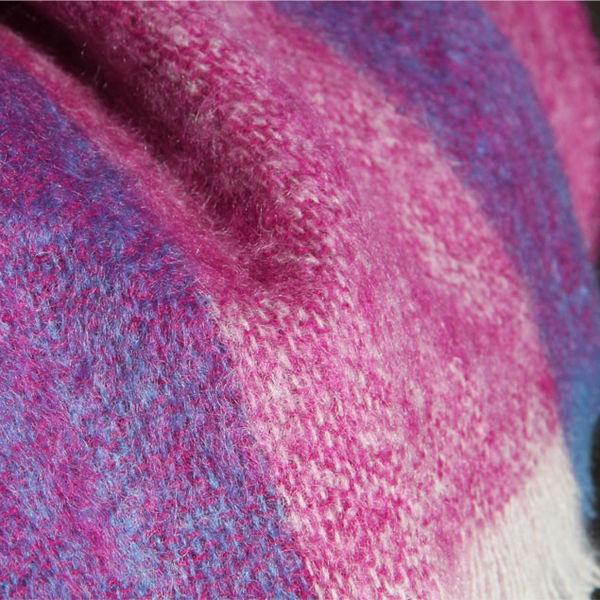 Luxury Mohair Throw - Berry Stripe