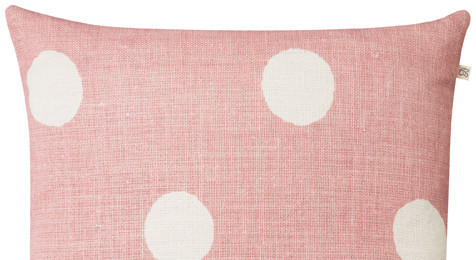 Big Dots Pink Reverse linen cushion