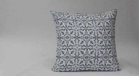 Blue Mosiac print Linen Cushion