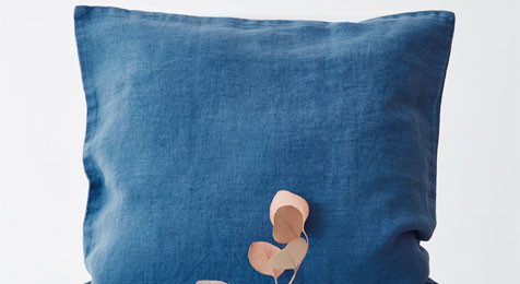Linen Cushion Blue Stone washed