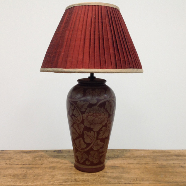 Chestnut Silk Pleated lampshade and Pottery Base