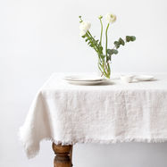 Creamy White Vintage Tablecloth with Fringes