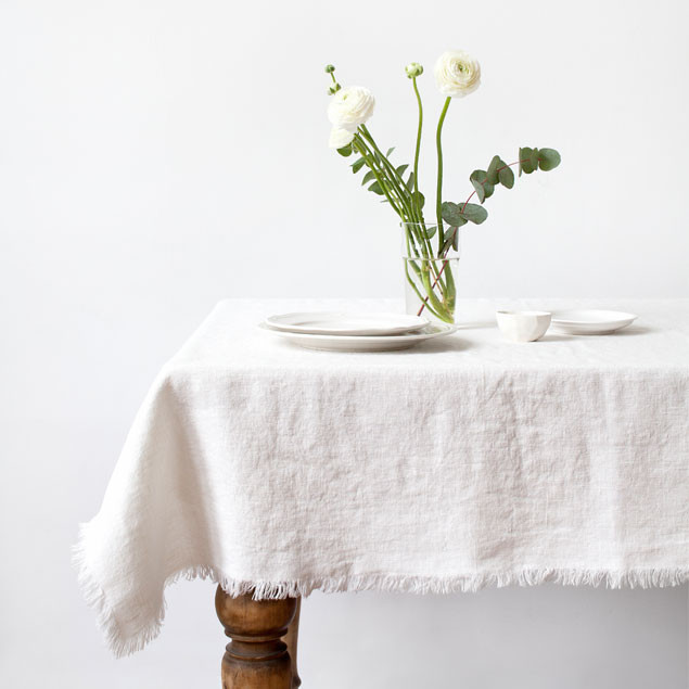 Creamy White Vintage Tablecloth With Fringes: Creamy White Vintage  Tablecloth With Fringes