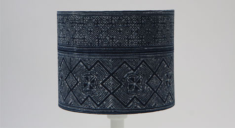 DRUM LAMPSHADE GEOMETRIC BATIK INDIGO BLUE