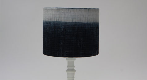 DRUM LAMPSHADE INDIGO SHADED BLUE