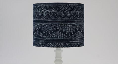 DRUM LAMPSHADE ZIG ZAG BATIK INDIGO BLUE