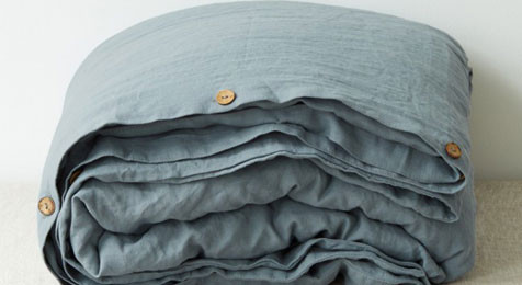 Linen Duvet cover in Blue Fog colour