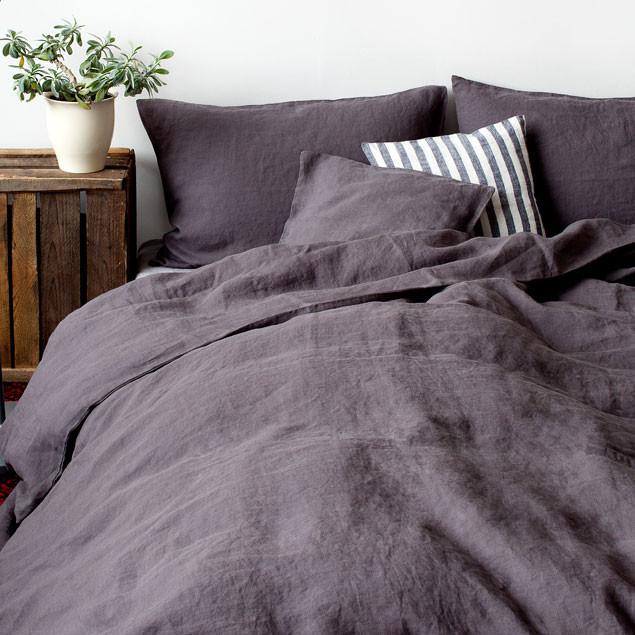 linen duvet cover dark grey. Black Bedroom Furniture Sets. Home Design Ideas