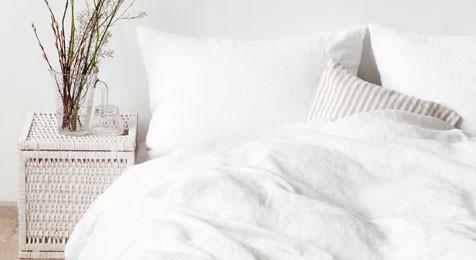 Linen Duvet Cover White & Pillowcase Set