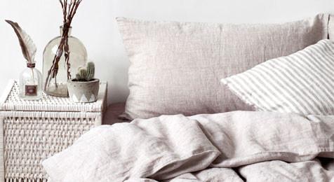 Linen Duvet Cover Melange & Pillowcase Set