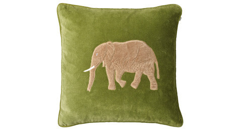 Embroidered Elephant Cactus Green Velvet Cushion