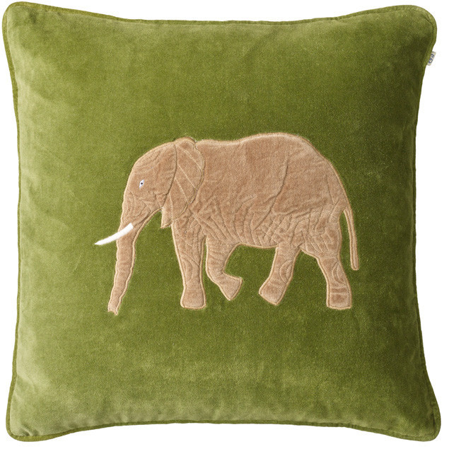Embroidered Elephant Cactus Green Velvet Cushion: Embroidered Elephant Cactus Green Velvet Cushion