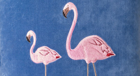 Flamingo Embroidered Cushion on Blue Velvet