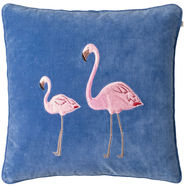 Flamingo on Riveria Blue Velvet