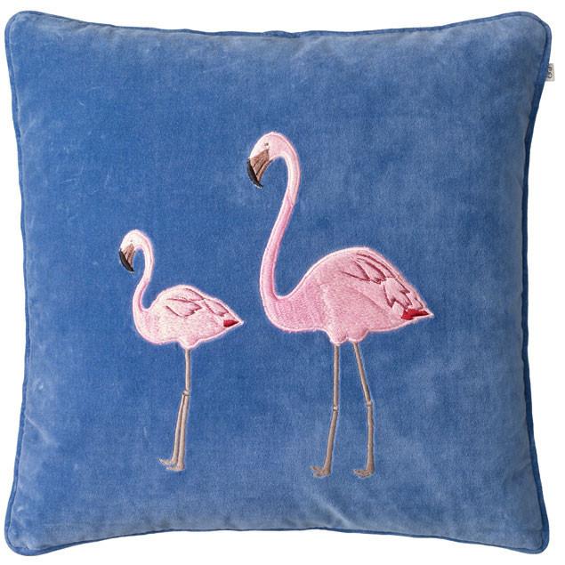 Flamingo Embroidered Cushion on Blue Velvet: Flamingo on Riveria Blue Velvet