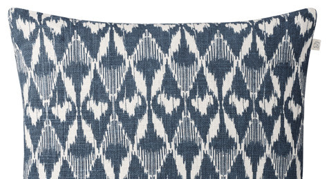 Gangtok Ikat Blue Linen Cushion