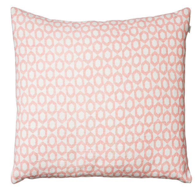 Haveli Pink on White Linen Base Cushion: Haveli Pink Cushion Chhatwal Jonsson