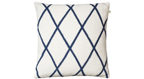 Ikat Orissa Blue on Off White Linen Cushion