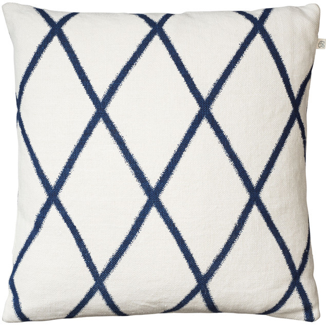 Ikat Orissa Blue on Off White Linen Cushion : Ikat Orissa Blue cushion Chhatwal Jonsson