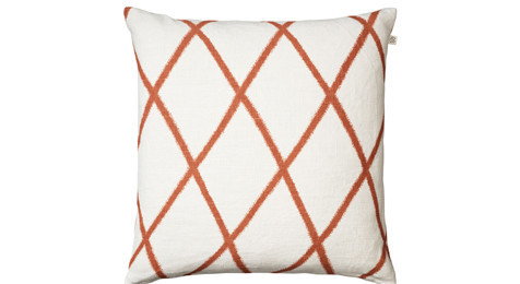 Ikat Orissa Orange on off White Linen Cushion