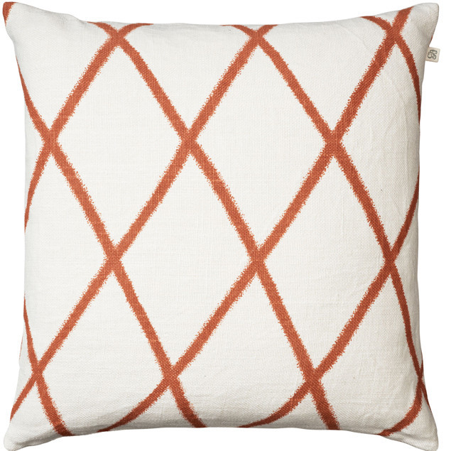 Ikat Orissa Orange on off White Linen Cushion : Ikat Orissa Orange on off White Linen Cushion