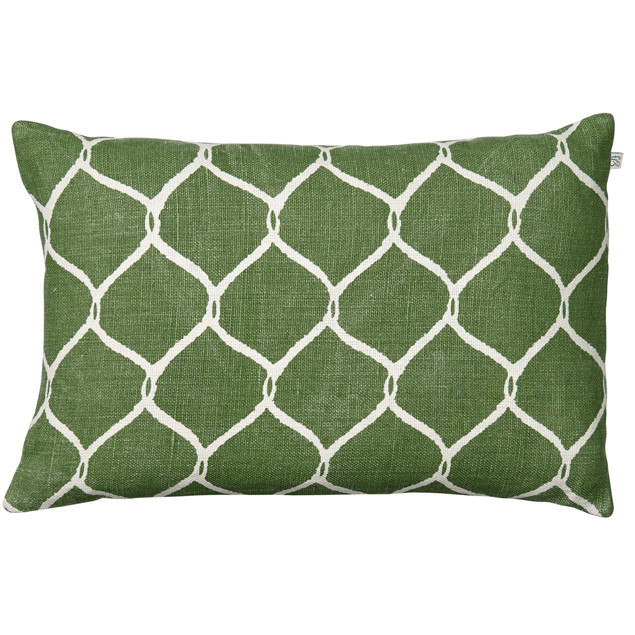 Jaal Cactus Green Linen Cushion: Jaal Cactus Green Linen Cushion