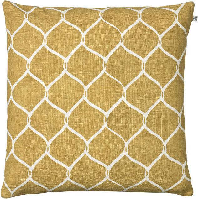 Jaal Spicy Yellow Linen Cushion: Jaal Spicy Yellow Linen Cushion