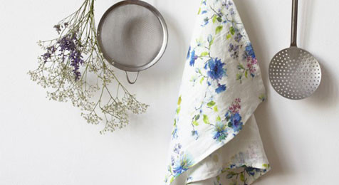 Tea towel Summer Flowers on white Linen