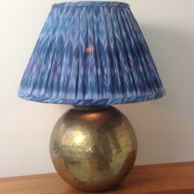 Ikat Blue Turquoise gathered Straight Empire Lampshade