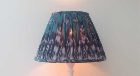 Ikat Lampshade - Jade Green and Blue