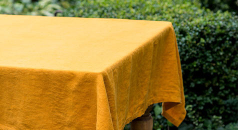 Mustard Vintage Linen Tablecloth