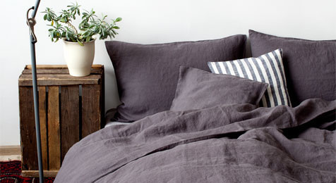 Linen Duvet Cover Dark Grey & Pillowcase Set