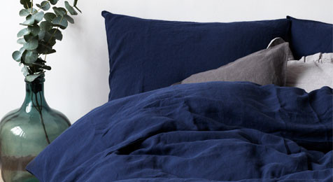 Linen Duvet Cover Navy & Pillowcase Set