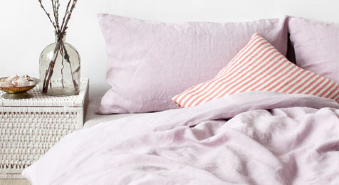 Linen Duvet Cover Pink Lavender & Pillowcase Set