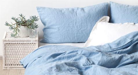 Linen Duvet Cover Sky Blue & Pillowcase Set